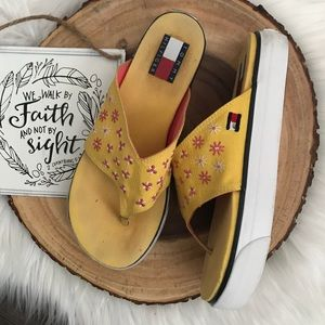 VNTG Tommy Hilfiger 90's Platform Yellow Sandals 7